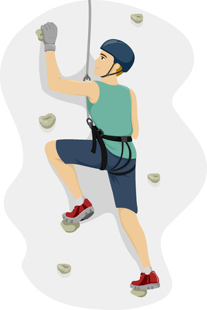 harness: Illustration of a Teenage Boy in a Harness Climbing a Wall