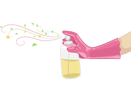 hands in the air: Illustration of a Hand Spraying Organic Air Freshener