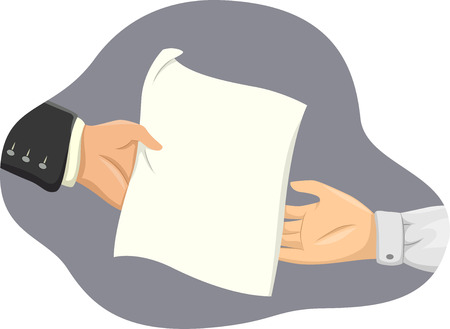 Illustration of a Piece of Paper in the Middle of Being Transferred