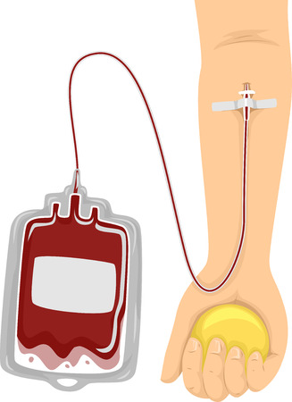 donate: Cropped Illustration of a Donor Donating Blood