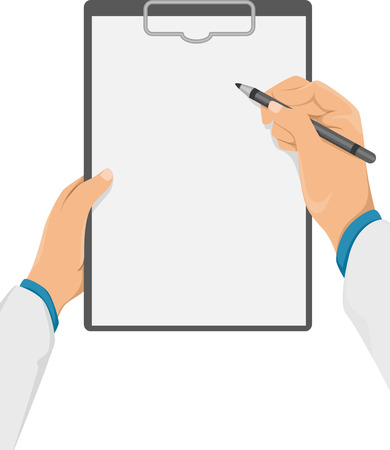 prognosis: Cropped Illustration of a Doctor Writing Something on His Clipboard