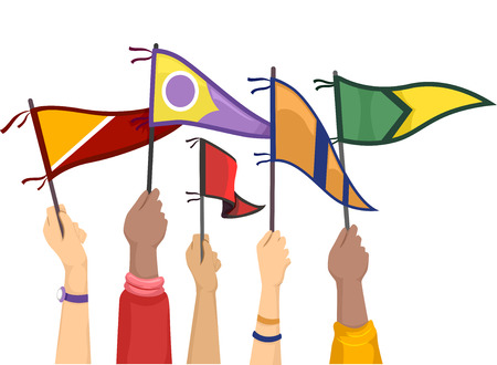 Cropped Illustration of Students Raising College Flags