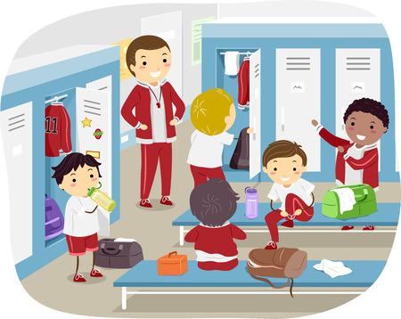 bonhomme allumette: Illustration Stickman de l'évolution des garçons dans la salle de Locker