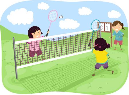 Stickman Illustration of Girls Playing Badminton in a Park illustration