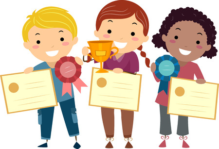 achievement clip art: Stickman Illustration of Kids Holding Certificates, Ribbons, and a Trophy