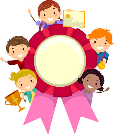 achievement clip art: Stickman Illustration of Kids Holding Different Awards