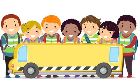 grade schooler: Stickman Illustration of Kids and Their Teacher Holding a Banner in the Shape of a Bus Stock Photo