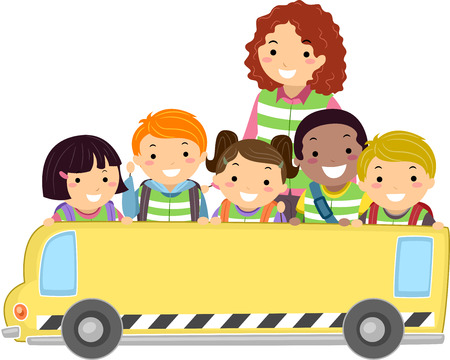 Stickman Illustration of Kids and Their Teacher Holding a Banner in the Shape of a Bus illustration