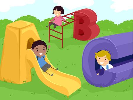bonhomme allumette: Illustration Stickman d'enfants qui jouent dans une aire de jeu
