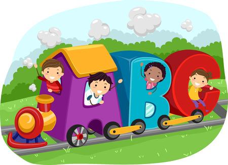 알파벳의 편지의 모양에 기차를 타고 아이의 Stickman의 그림