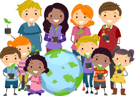 bonhomme allumette: Illustration des enfants et les adultes Stickman transport plants debout � c�t� d'un Globe