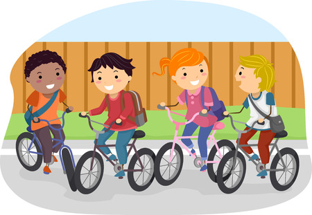 Illustration of Stickman Kids Riding on Their Bikes