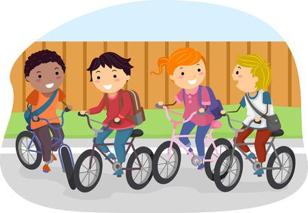 andando en bicicleta: Ilustración de Stickman Niños montar en sus bicicletas