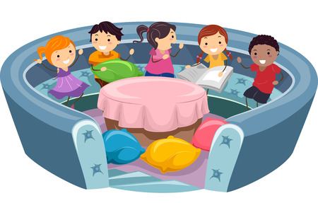 mingle: Illustration of Stickman Kids in a Conversation Pit Stock Photo