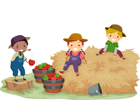 manzana caricatura: Ilustración de Stickman niños jugando con heno y Manzanas