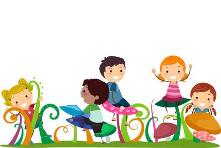 girl  child: Illustration of Stickman Kids Playing With Mushrooms