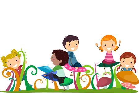 bambini che giocano: Illustrazione di Stickman Bambini che giocano con Funghi Archivio Fotografico