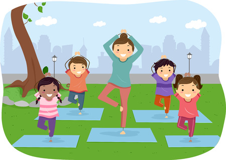 Illustration of Stickman Kids Doing Yoga Outdoors Stock Photo