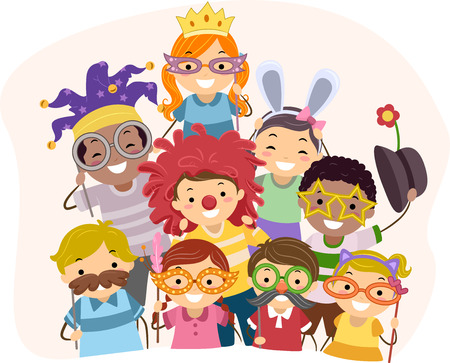 Illustration of Kids Wearing Photo Booth Props Stock Photo
