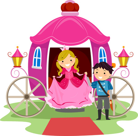 girl in red dress: Illustration of Stickman Kids Dressed as a Prince and a Princess