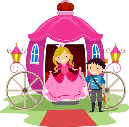 traje: Ilustração de Stickman Crianças Vestido como um príncipe e uma princesa