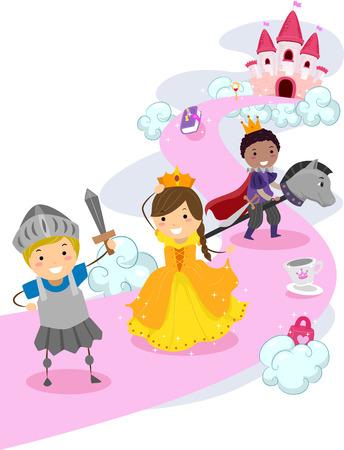 bonhomme allumette: Illustration de Stickman enfants habill�s comme des chevaliers Prot�ger un Make Believe princesse