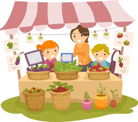 bonhomme allumette: Illustration de Stickman enfants Manning un fruit et un stand de l�gumes