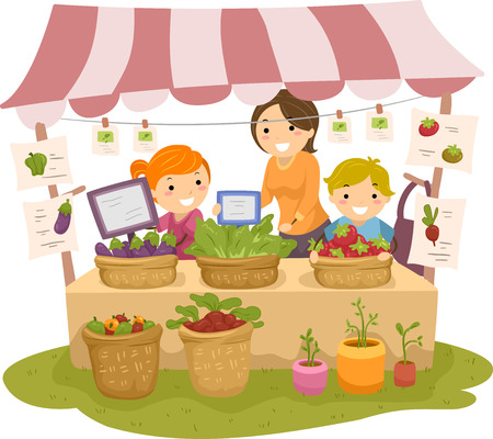 cartoon fruit: Illustration of Stickman Kids Manning a Fruit and a Vegetable Stand