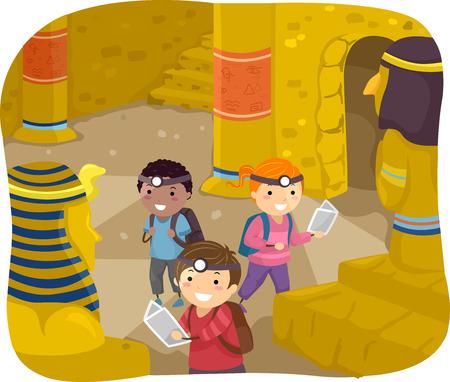 Illustration of Stickman Kids Exploring the Interior of a Pyramid