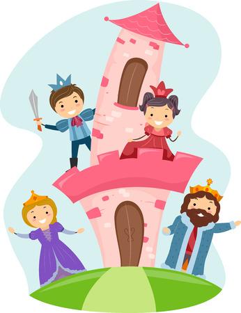 bonhomme allumette: Illustration de Stickman enfants habill�s comme des membres d'une famille royale