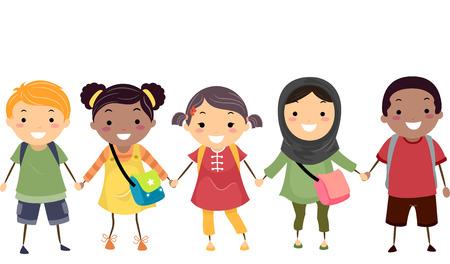 Illustration of Stickman Kids Celebrating Diversity 스톡 콘텐츠