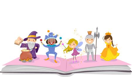 bonhomme allumette: Illustration de Stickman enfants habill�s comme des personnages souvent observ�e chez Storybooks