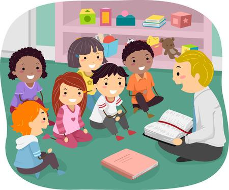 Illustratie van Stickman Kids bijwonen zondagsschool