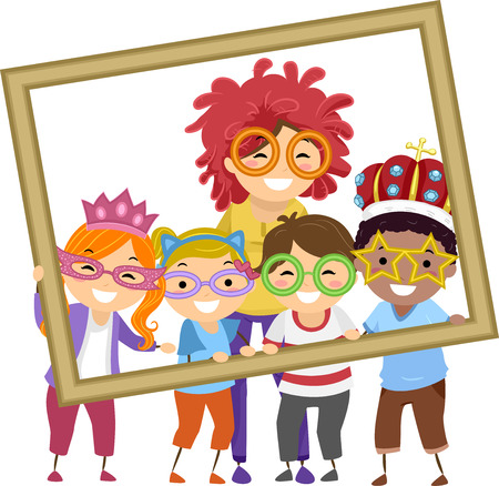 kindergarten early education: Illustration of Stickman Kids Taking a Photo With Their Teacher