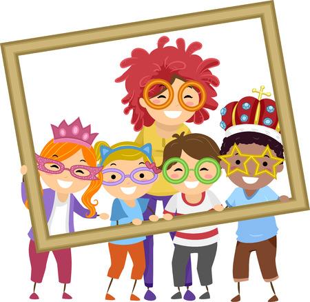 maestra preescolar: Ilustración de Stickman niños que toma una foto con su profesor