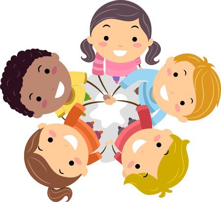Illustratie van Stickman kinderen zetten hun handen samen in een show van eenheid