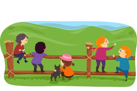 hanging around: Ilustraci�n de Stickman Granja Ni�os que cuelga alrededor de una cerca