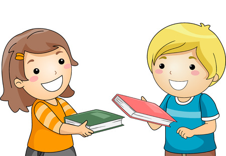 grade schooler: Illustration of a Boy and a Girl Exchanging Books Stock Photo
