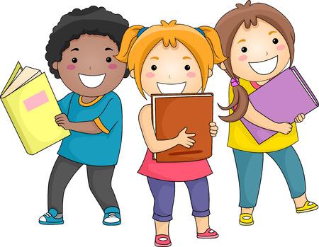 Ilustración de niños sonrientes que llevan gruesos libros