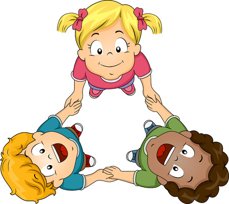 children circle: Illustration of Kids Huddling Together to Form a Circle Stock Photo