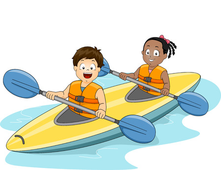 ocean kayak: Ilustración de un niño y una niña Maniobrar un kayak