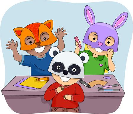 schooler: Illustration of Kids Wearing Colorful Animal Masks