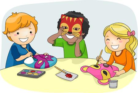 カラフルなパーティー マスクを作る子供たちのイラスト