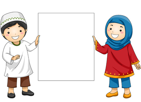 grade schooler: Illustration of Muslim Kids in Traditional Clothing Holding a Blank Board