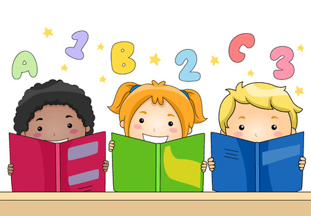 abc kids: Illustration of Kids Learning to Read and Write