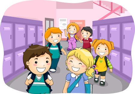 Illustration of Kids Walking Down a Hallway Lined Up With Lockers