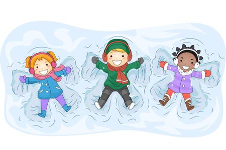 angel cartoon: Illustration of Kids in Winter Gear Making Snow Angels Stock Photo