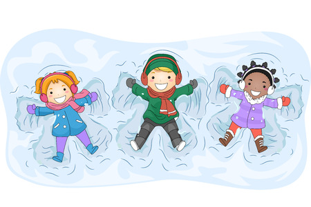 Illustration of Kids in Winter Gear Making Snow Angels Stock Photo