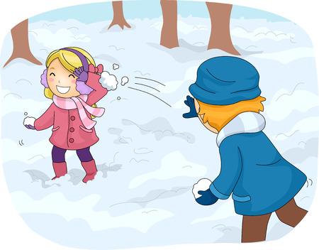 boule de neige: Illustration des enfants dans la vitesse d'hiver Avoir un Snowball Fight