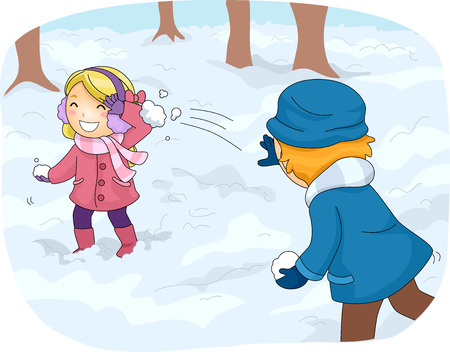 Illustration of Kids in Winter Gear Having a Snowball Fight